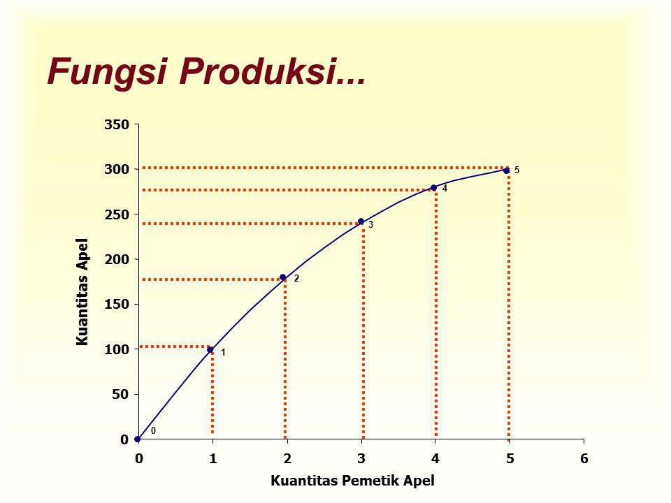 Fungsi Produksi... 0 0 50 100 150 200 250 300 350 0123456 Kuantitas Pemetik Apel Kuantitas Apel 1 2 3 4 5