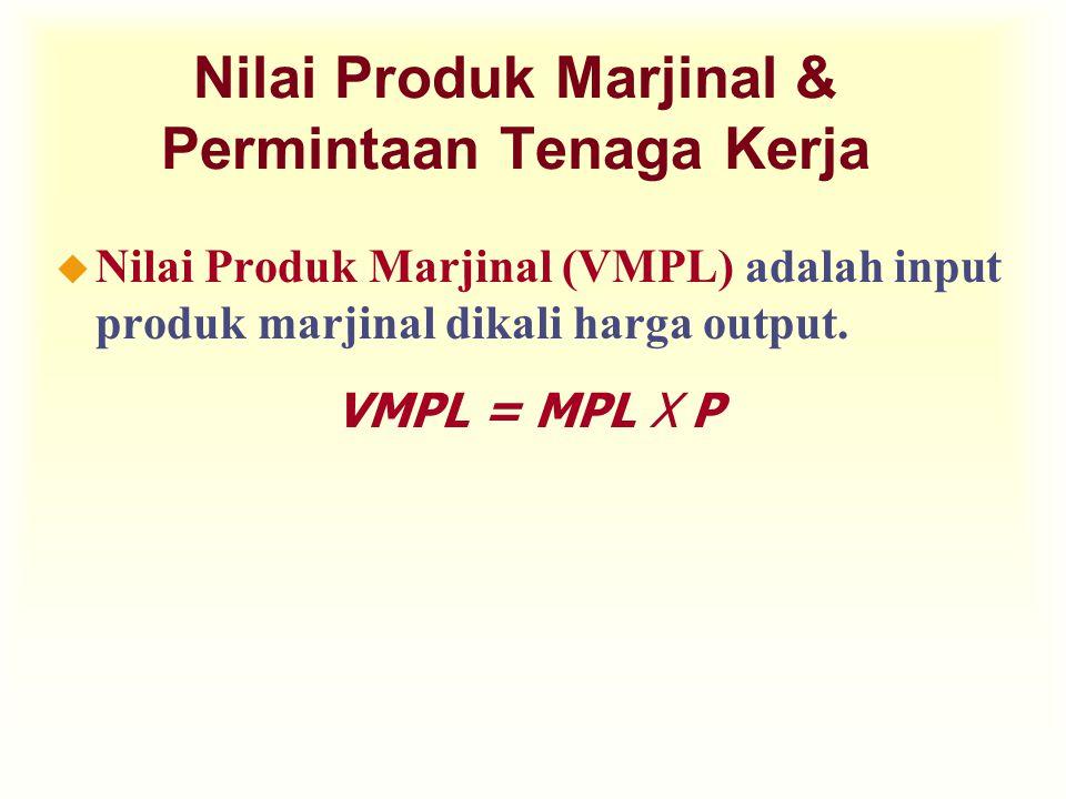 Nilai Produk Marjinal & Permintaan Tenaga Kerja u Nilai Produk Marjinal (VMPL) adalah input produk marjinal dikali harga output. VMPL = MPL X P