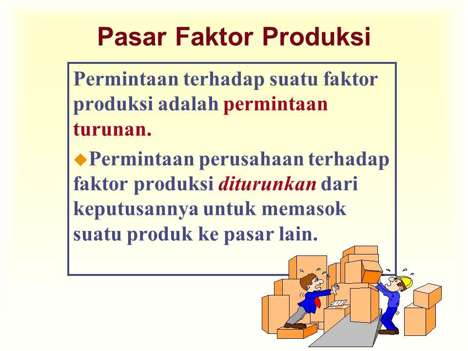 Pasar Faktor Produksi Permintaan terhadap suatu faktor produksi adalah permintaan turunan. u Permintaan perusahaan terhadap faktor produksi diturunkan