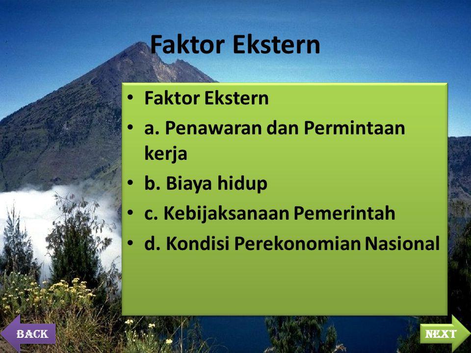 Faktor Ekstern a. Penawaran dan Permintaan kerja b.