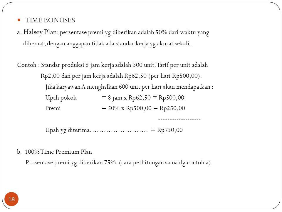 18 TIME BONUSES a. Halsey Plan; persentase premi yg diberikan adalah 50% dari waktu yang dihemat, dengan anggapan tidak ada standar kerja yg akurat se
