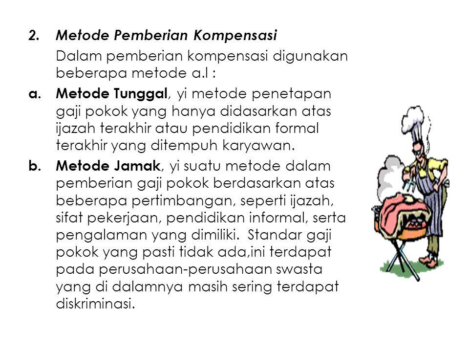 2.Metode Pemberian Kompensasi Dalam pemberian kompensasi digunakan beberapa metode a.l : a.Metode Tunggal, yi metode penetapan gaji pokok yang hanya d