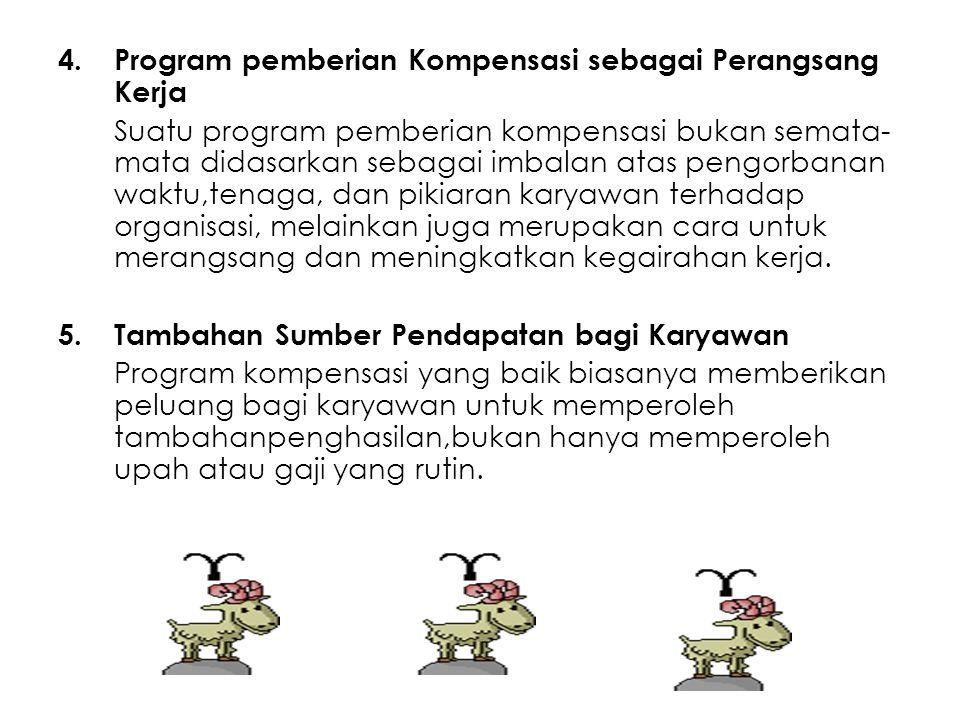 4.Program pemberian Kompensasi sebagai Perangsang Kerja Suatu program pemberian kompensasi bukan semata- mata didasarkan sebagai imbalan atas pengorba
