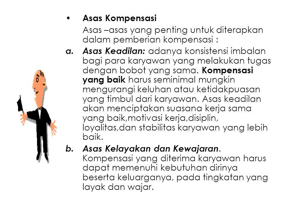 Asas Kompensasi Asas –asas yang penting untuk diterapkan dalam pemberian kompensasi : a.Asas Keadilan: adanya konsistensi imbalan bagi para karyawan y
