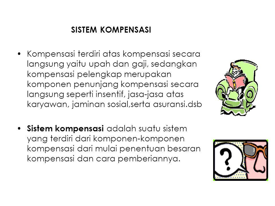 SISTEM KOMPENSASI Kompensasi terdiri atas kompensasi secara langsung yaitu upah dan gaji, sedangkan kompensasi pelengkap merupakan komponen penunjang