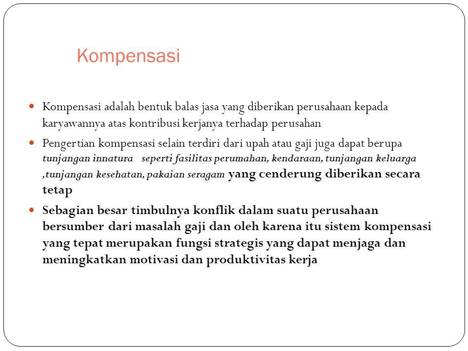 Kompensasi Kompensasi adalah bentuk balas jasa yang diberikan perusahaan kepada karyawannya atas kontribusi kerjanya terhadap perusahan Pengertian kom