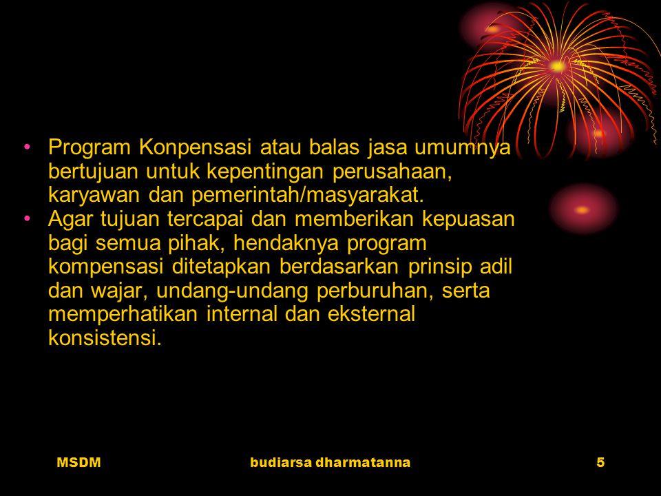 MSDMbudiarsa dharmatanna4 Dari Sudut Perusahaan Kompensasi merupakan pengeluaran dan biaya bagi perusahaan. Perusahaan mengharapkan agar kompensasi ya