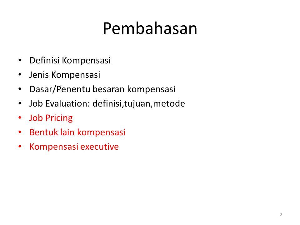 3 Kompensasi DEFINISI Semua penghargaan (materi dan non materi) yang diberikan oleh perusahaan atas jasa karyawan Tujuan Pemberian Kompensasi Untuk menarik,mempertahankan dan memotivasi para pekerja