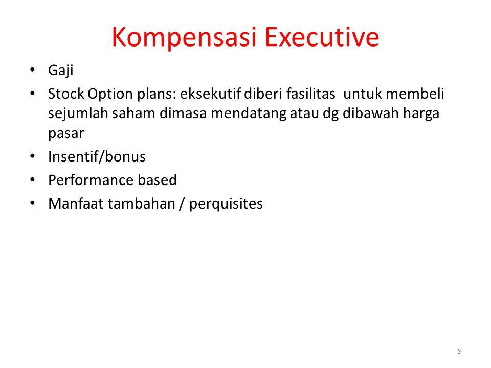 9 Kompensasi Executive Gaji Stock Option plans: eksekutif diberi fasilitas untuk membeli sejumlah saham dimasa mendatang atau dg dibawah harga pasar I