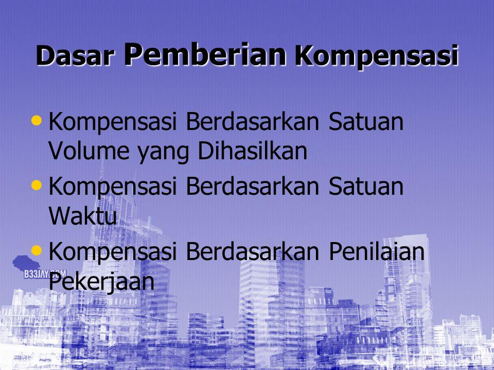 Dasar Pemberian Kompensasi Kompensasi Berdasarkan Satuan Volume yang Dihasilkan Kompensasi Berdasarkan Satuan Waktu Kompensasi Berdasarkan Penilaian P