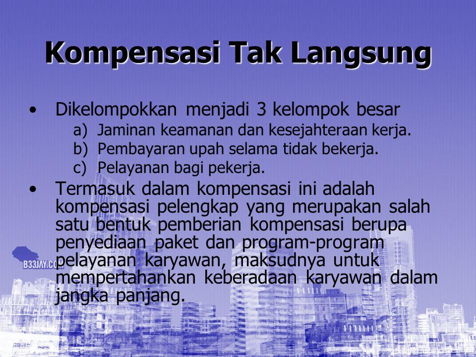 Kompensasi Tak Langsung Dikelompokkan menjadi 3 kelompok besar a) a)Jaminan keamanan dan kesejahteraan kerja. b) b)Pembayaran upah selama tidak bekerj