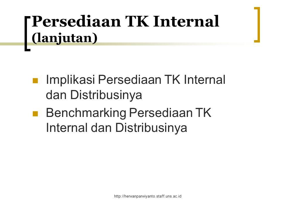 http://herwanparwiyanto.staff.uns.ac.id Faktor-faktor yg diperhatikan dalam pemilihan Metode Perencanaan Persediaan TK Internal (lanjutan) Stability and Certainty Availability of Data Number of Employees Resources Available Time Horizon Credibility to Management