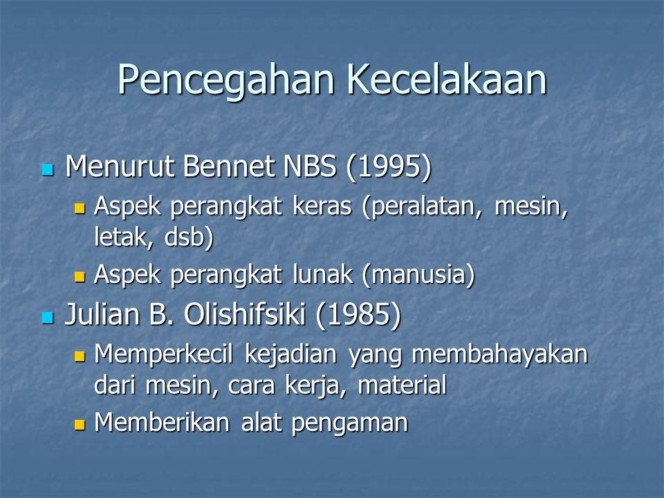 Pencegahan Kecelakaan Menurut Bennet NBS (1995) Menurut Bennet NBS (1995) Aspek perangkat keras (peralatan, mesin, letak, dsb) Aspek perangkat keras (peralatan, mesin, letak, dsb) Aspek perangkat lunak (manusia) Aspek perangkat lunak (manusia) Julian B.