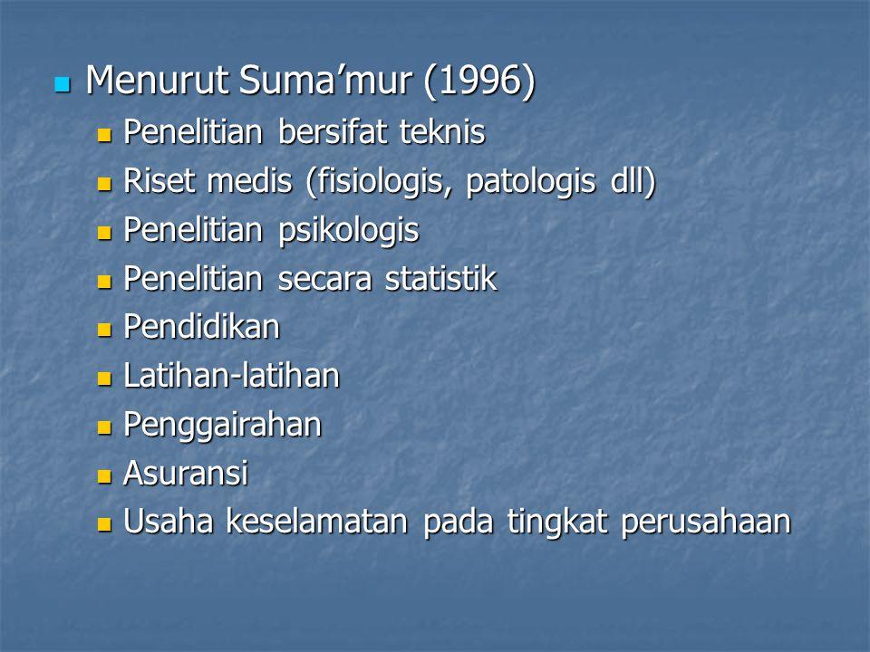 Menurut Suma'mur (1996) Menurut Suma'mur (1996) Penelitian bersifat teknis Penelitian bersifat teknis Riset medis (fisiologis, patologis dll) Riset me