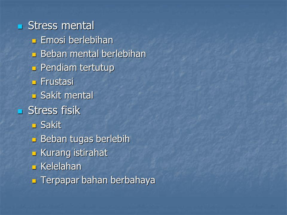Stress mental Stress mental Emosi berlebihan Emosi berlebihan Beban mental berlebihan Beban mental berlebihan Pendiam tertutup Pendiam tertutup Frusta