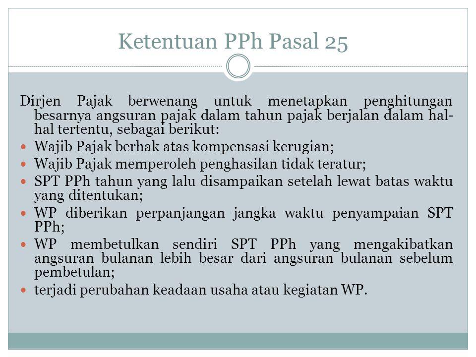 PPh 25 apabila ada kompensasi kerugian Penghasilan PT Dira th 2011 Rp.