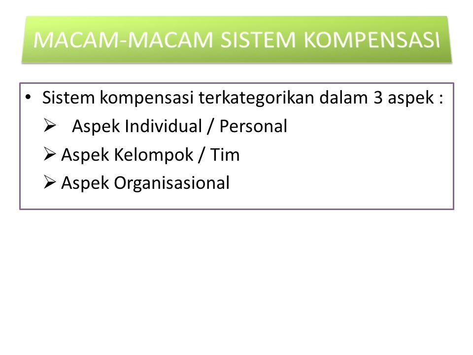 Sistem kompensasi terkategorikan dalam 3 aspek :  Aspek Individual / Personal  Aspek Kelompok / Tim  Aspek Organisasional