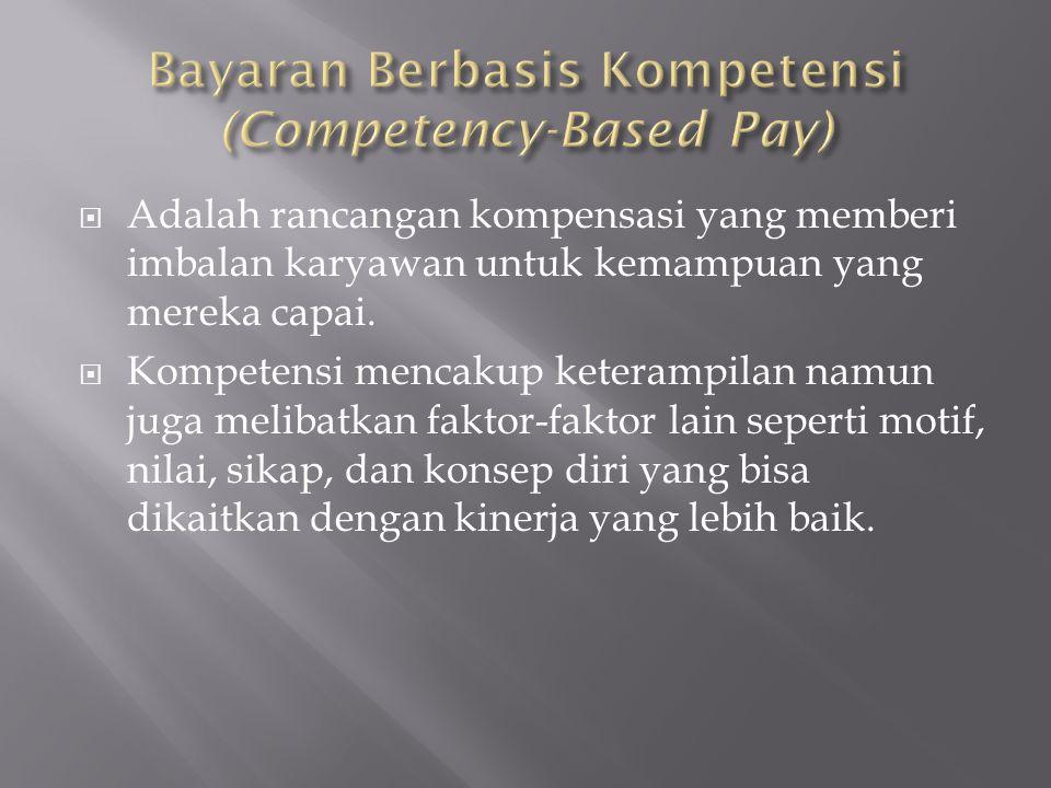  Adalah rancangan kompensasi yang memberi imbalan karyawan untuk kemampuan yang mereka capai.  Kompetensi mencakup keterampilan namun juga melibatka