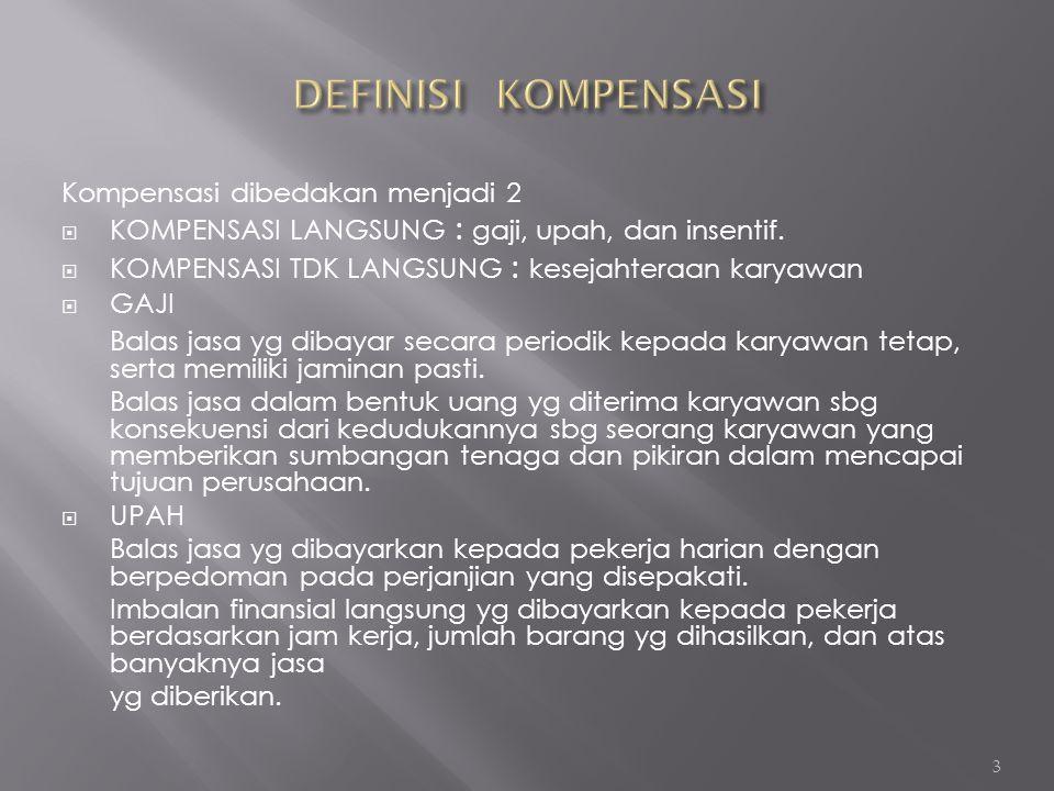 Kompensasi dibedakan menjadi 2  KOMPENSASI LANGSUNG : gaji, upah, dan insentif.  KOMPENSASI TDK LANGSUNG : kesejahteraan karyawan  GAJI Balas jasa