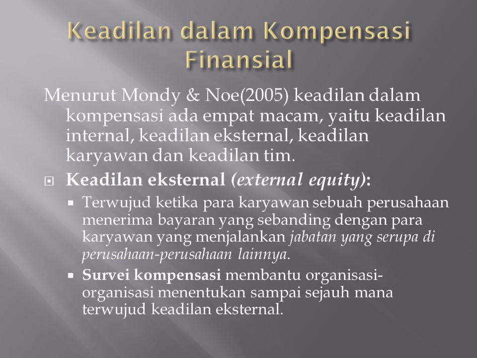 Menurut Mondy & Noe(2005) keadilan dalam kompensasi ada empat macam, yaitu keadilan internal, keadilan eksternal, keadilan karyawan dan keadilan tim.