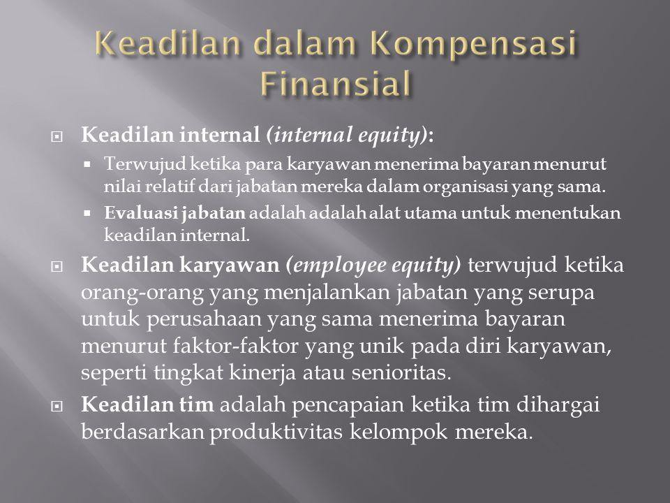  Keadilan internal (internal equity) :  Terwujud ketika para karyawan menerima bayaran menurut nilai relatif dari jabatan mereka dalam organisasi ya