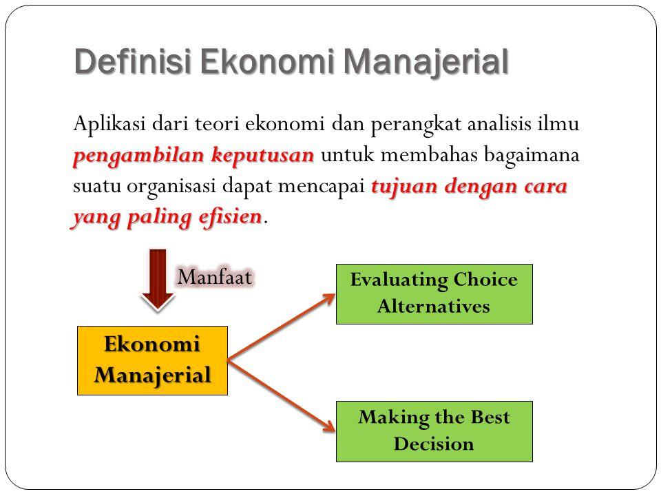 Definisi Ekonomi Manajerial pengambilan keputusan tujuan dengan cara yang paling efisien Aplikasi dari teori ekonomi dan perangkat analisis ilmu penga