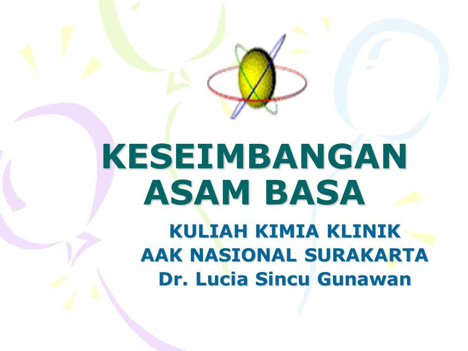 KESEIMBANGAN ASAM BASA KULIAH KIMIA KLINIK AAK NASIONAL SURAKARTA Dr. Lucia Sincu Gunawan