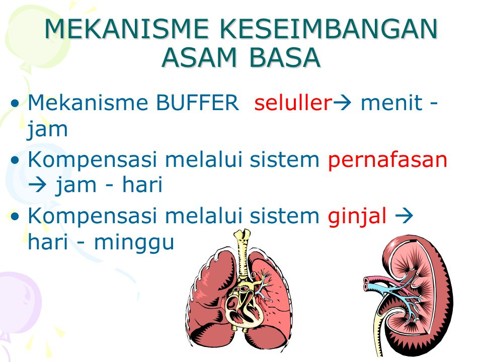 MEKANISME KESEIMBANGAN ASAM BASA Mekanisme BUFFER seluller  menit - jam Kompensasi melalui sistem pernafasan  jam - hari Kompensasi melalui sistem ginjal  hari - minggu