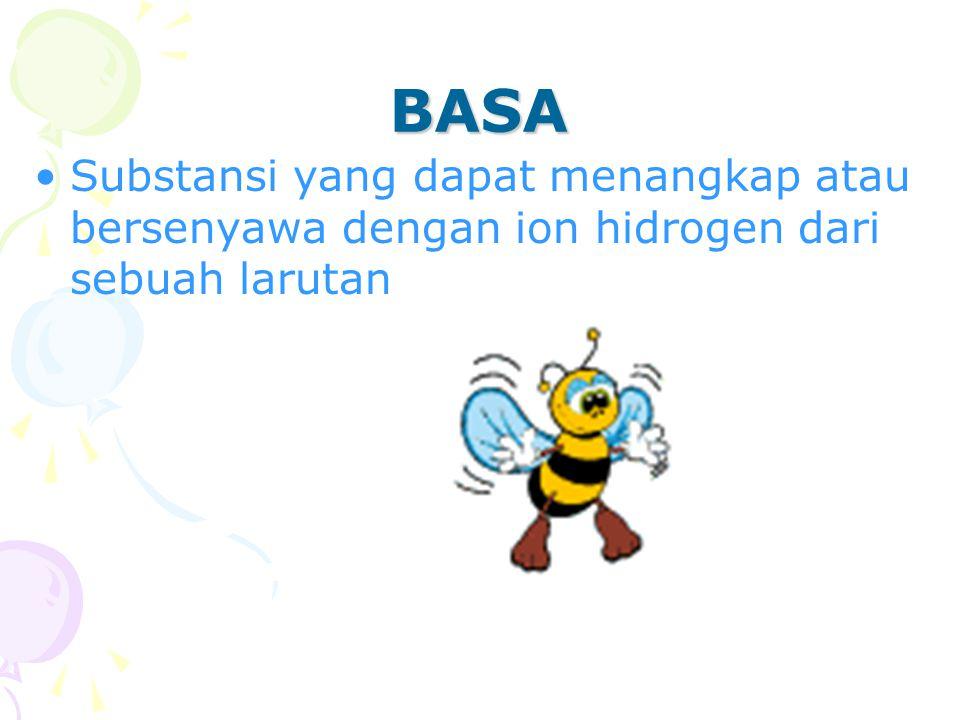 Substansi yang dapat menangkap atau bersenyawa dengan ion hidrogen dari sebuah larutan BASA