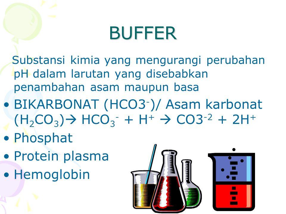 BUFFER Substansi kimia yang mengurangi perubahan pH dalam larutan yang disebabkan penambahan asam maupun basa BIKARBONAT (HCO3 - )/ Asam karbonat (H 2 CO 3 )  HCO 3 - + H +  CO3 -2 + 2H + Phosphat Protein plasma Hemoglobin