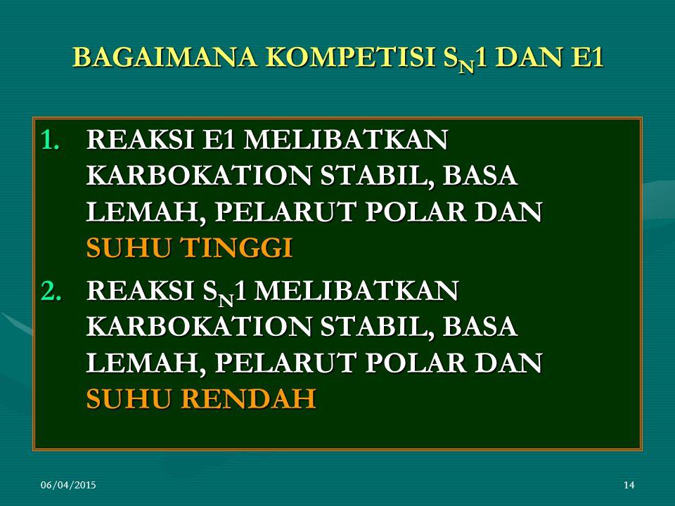 06/04/201514 BAGAIMANA KOMPETISI S N 1 DAN E1 1.REAKSI E1 MELIBATKAN KARBOKATION STABIL, BASA LEMAH, PELARUT POLAR DAN SUHU TINGGI 2.REAKSI S N 1 MELIBATKAN KARBOKATION STABIL, BASA LEMAH, PELARUT POLAR DAN SUHU RENDAH