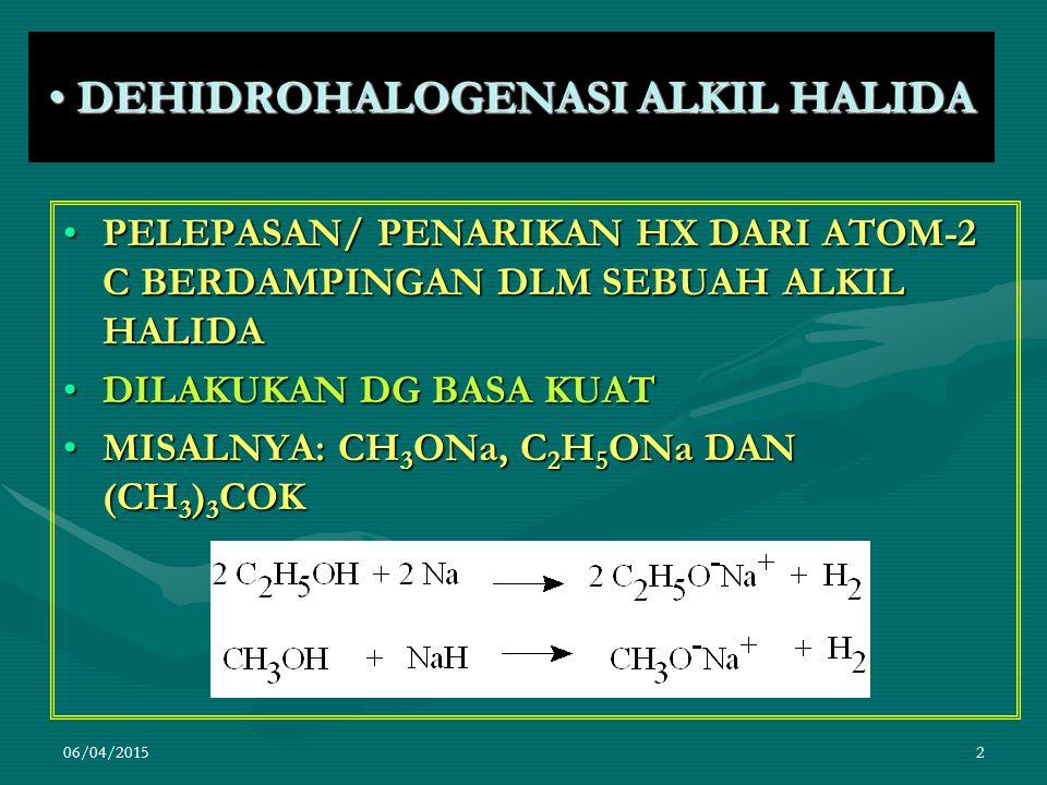 06/04/20152 DEHIDROHALOGENASI ALKIL HALIDA DEHIDROHALOGENASI ALKIL HALIDA PELEPASAN/ PENARIKAN HX DARI ATOM-2 C BERDAMPINGAN DLM SEBUAH ALKIL HALIDAPELEPASAN/ PENARIKAN HX DARI ATOM-2 C BERDAMPINGAN DLM SEBUAH ALKIL HALIDA DILAKUKAN DG BASA KUATDILAKUKAN DG BASA KUAT MISALNYA: CH 3 ONa, C 2 H 5 ONa DAN (CH 3 ) 3 COKMISALNYA: CH 3 ONa, C 2 H 5 ONa DAN (CH 3 ) 3 COK