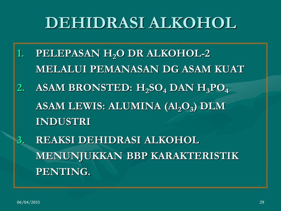 06/04/201529 DEHIDRASI ALKOHOL 1.PELEPASAN H 2 O DR ALKOHOL-2 MELALUI PEMANASAN DG ASAM KUAT 2.ASAM BRONSTED: H 2 SO 4 DAN H 3 PO 4 ASAM LEWIS: ALUMINA (Al 2 O 3 ) DLM INDUSTRI 3.REAKSI DEHIDRASI ALKOHOL MENUNJUKKAN BBP KARAKTERISTIK PENTING.