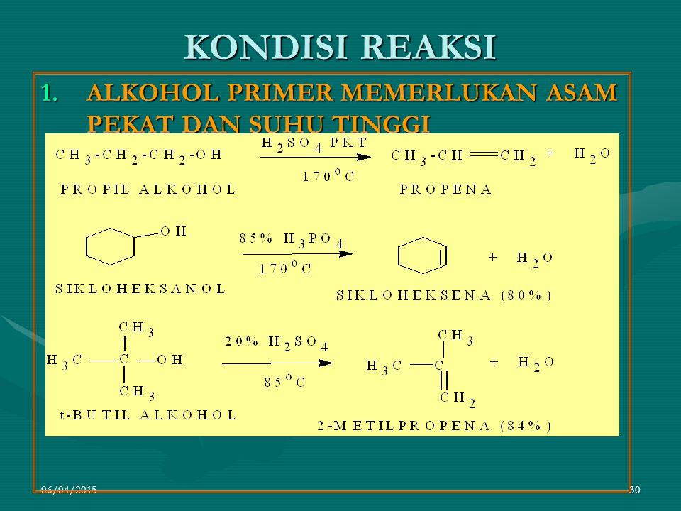 06/04/201530 KONDISI REAKSI 1.ALKOHOL PRIMER MEMERLUKAN ASAM PEKAT DAN SUHU TINGGI