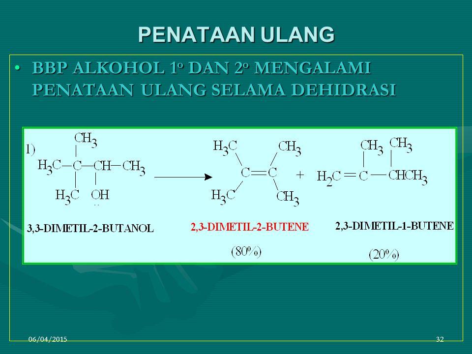06/04/201532 PENATAAN ULANG BBP ALKOHOL 1 o DAN 2 o MENGALAMI PENATAAN ULANG SELAMA DEHIDRASIBBP ALKOHOL 1 o DAN 2 o MENGALAMI PENATAAN ULANG SELAMA DEHIDRASI
