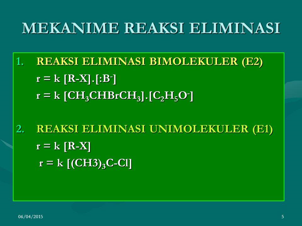 06/04/20156 REAKSI E2  DEHIDROBROMINASI ISOPROPIL BROMIDA DG LARUTAN NATRIUM ETOKSIDA DLM ETANOL  