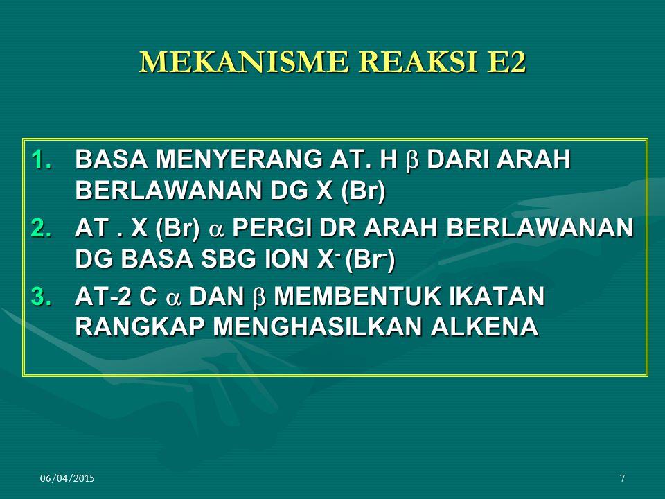06/04/201518 BAGAIMANA KOMPETISI S N 1 DAN E1 1.REAKSI E1 MELIBATKAN KARBOKATION STABIL, BASA LEMAH, PELARUT POLAR DAN SUHU TINGGI 2.REAKSI S N 1 MELIBATKAN KARBOKATION STABIL, BASA LEMAH, PELARUT POLAR DAN SUHU RENDAH