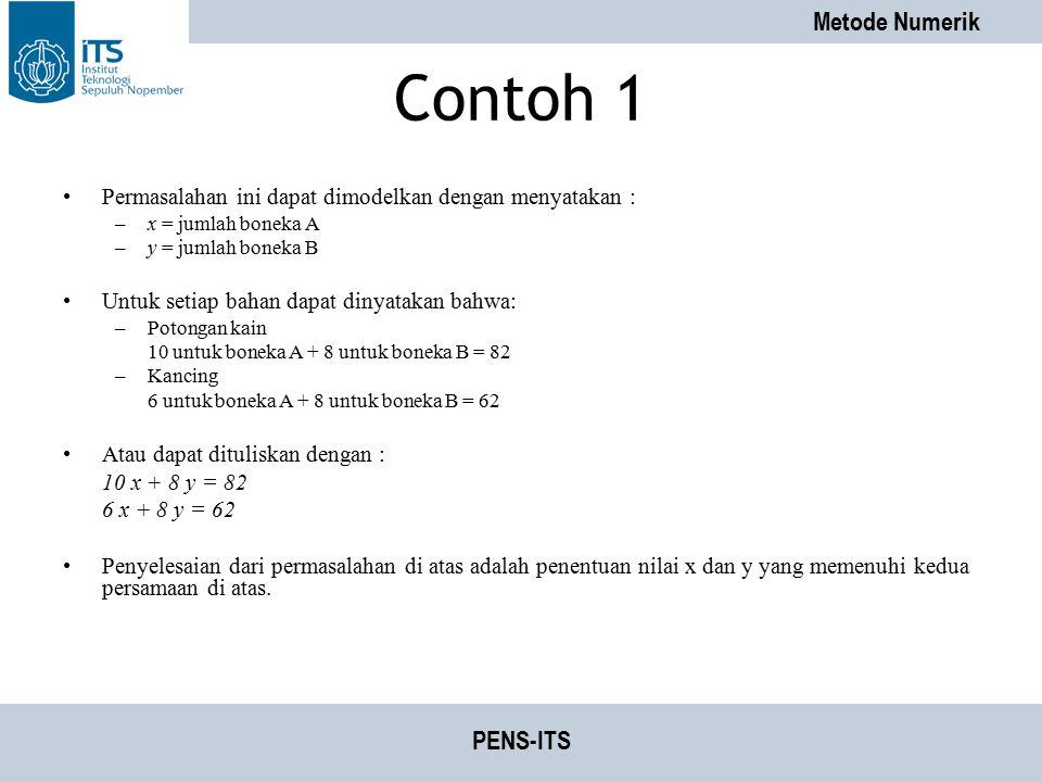 Metode Numerik PENS-ITS Contoh 1 Permasalahan ini dapat dimodelkan dengan menyatakan : –x = jumlah boneka A –y = jumlah boneka B Untuk setiap bahan da