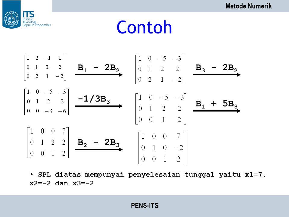 Metode Numerik PENS-ITS Contoh B 1 - 2B 2 B 3 - 2B 2 -1/3B 3 B 1 + 5B 3 B 2 - 2B 3 SPL diatas mempunyai penyelesaian tunggal yaitu x1=7, x2=-2 dan x3=