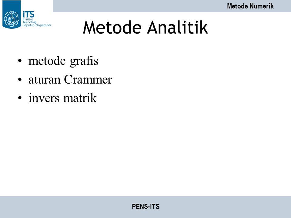 Metode Numerik PENS-ITS Metode Analitik metode grafis aturan Crammer invers matrik