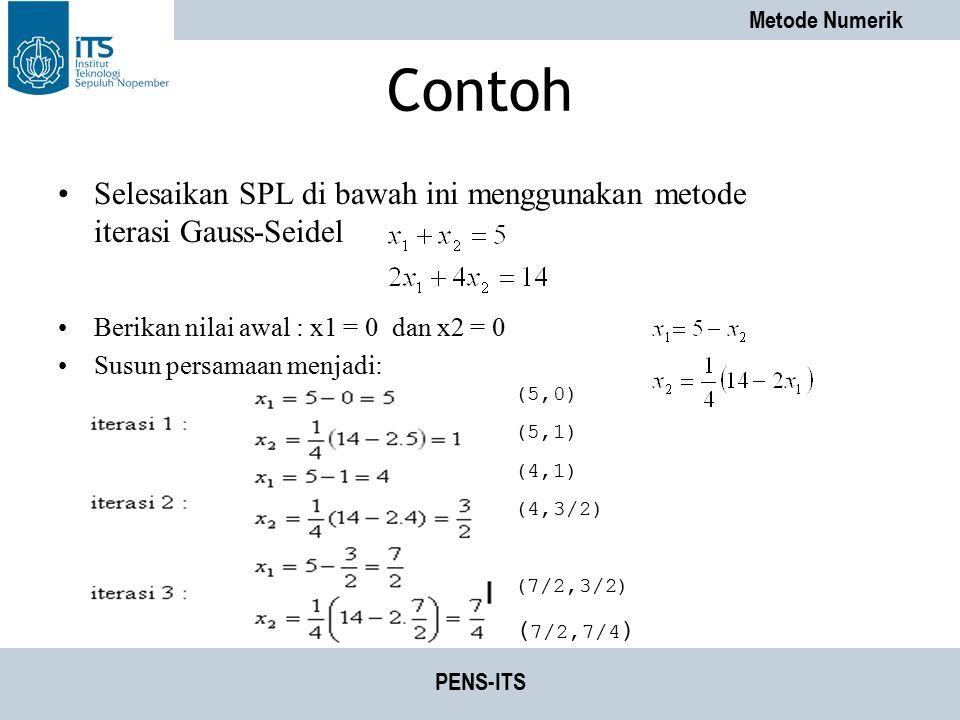 Metode Numerik PENS-ITS Contoh Selesaikan SPL di bawah ini menggunakan metode iterasi Gauss-Seidel Berikan nilai awal : x1 = 0 dan x2 = 0 Susun persam