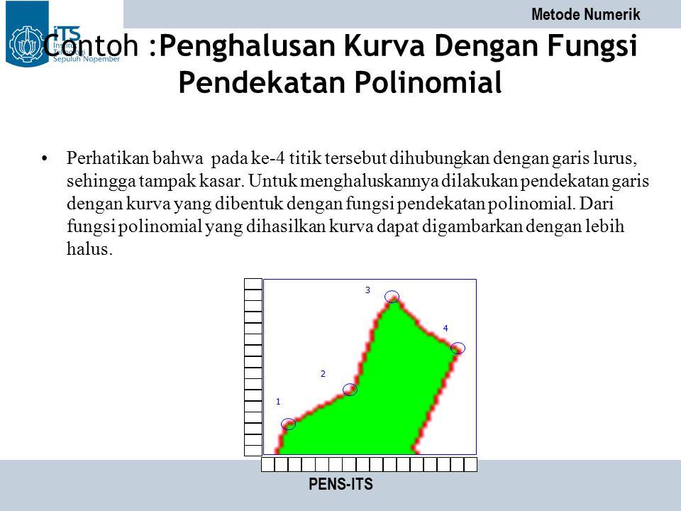 Metode Numerik PENS-ITS Contoh :Penghalusan Kurva Dengan Fungsi Pendekatan Polinomial Perhatikan bahwa pada ke-4 titik tersebut dihubungkan dengan gar