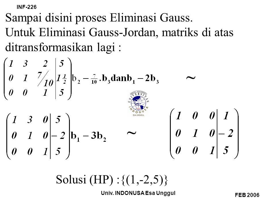 Univ. INDONUSA Esa Unggul INF-226 FEB 2006 Sampai disini proses Eliminasi Gauss.