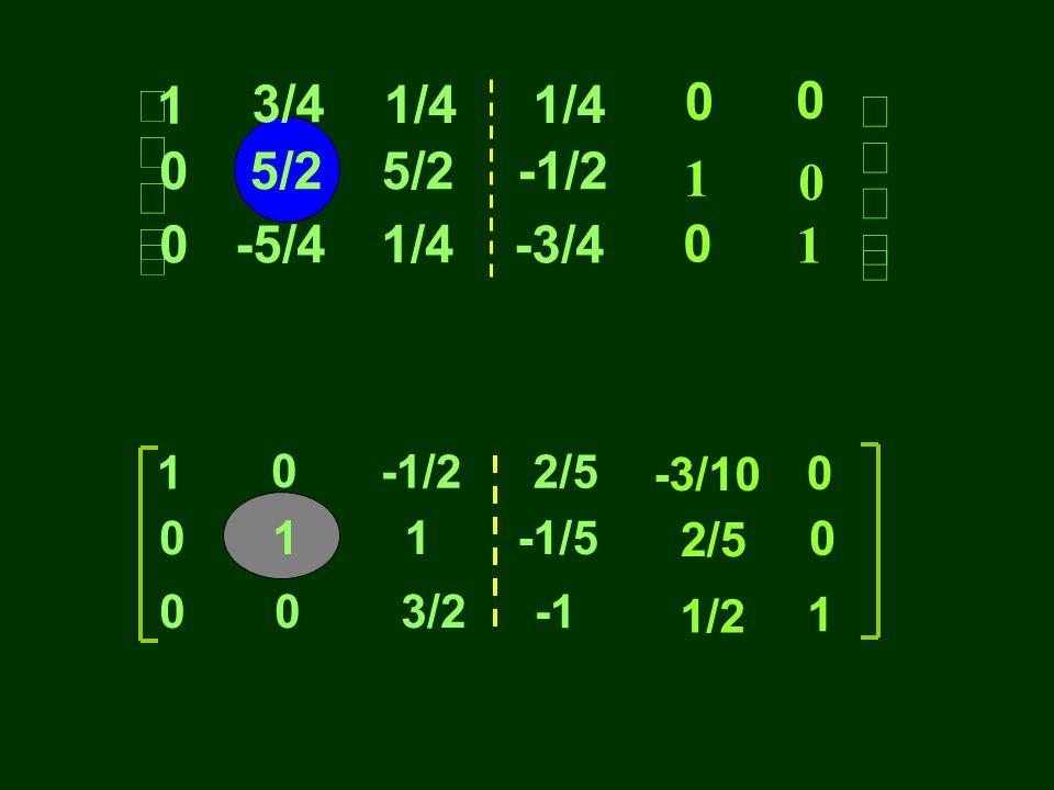 Contoh menginvers matrik dengan metode Gauss Jordan. 0 0 1 1 3 3 4 2 4 3 1 1 0 0 0 1 1 0           1 0 1 0 0 0           05/2 -1/2
