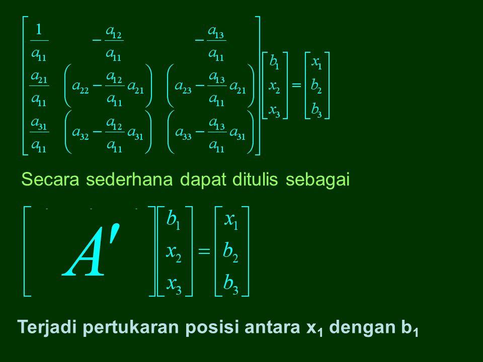 Substitusi (1b) kedalam (3): (3b) Persamaan-persamaan (1b), (2b) dan (3b) ditulis dalam bentuk matrik (2b) Atau,