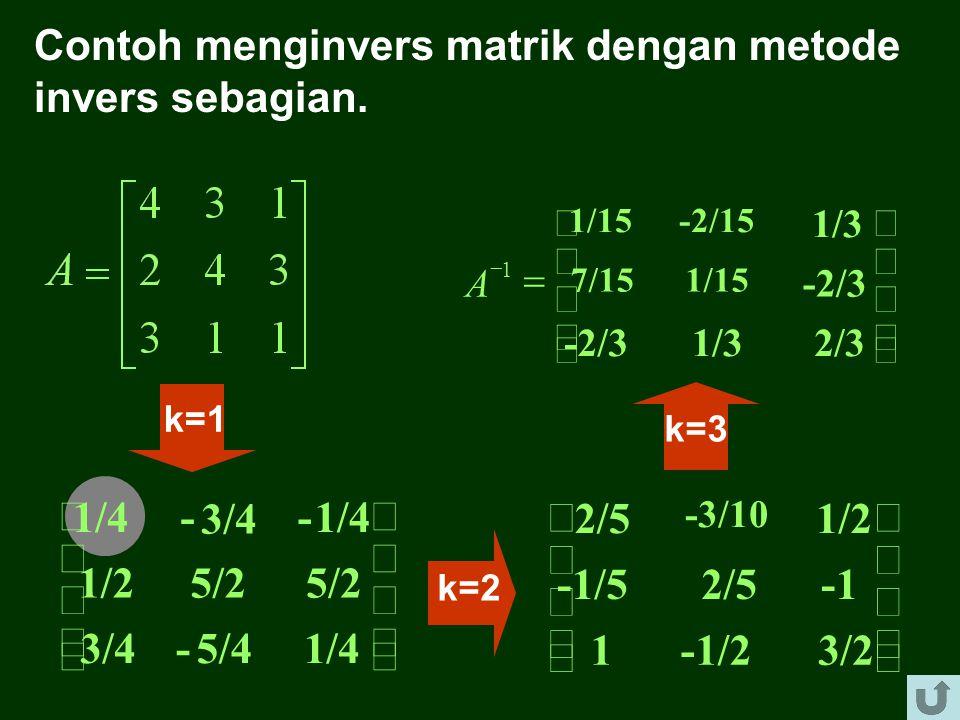 LANGKAH-LANGKAH MENUKAR POSISI x K DENGAN b K 1. Ganti elemen a kk (diagonal pertama k = 1) dengan kebalikannya, 2. Semua elemen kolom ke k, tetapi bu