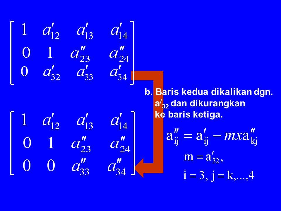 2. Eliminasi x 2 dalam (3) a.Baris kedua dibagi dengan a / 22