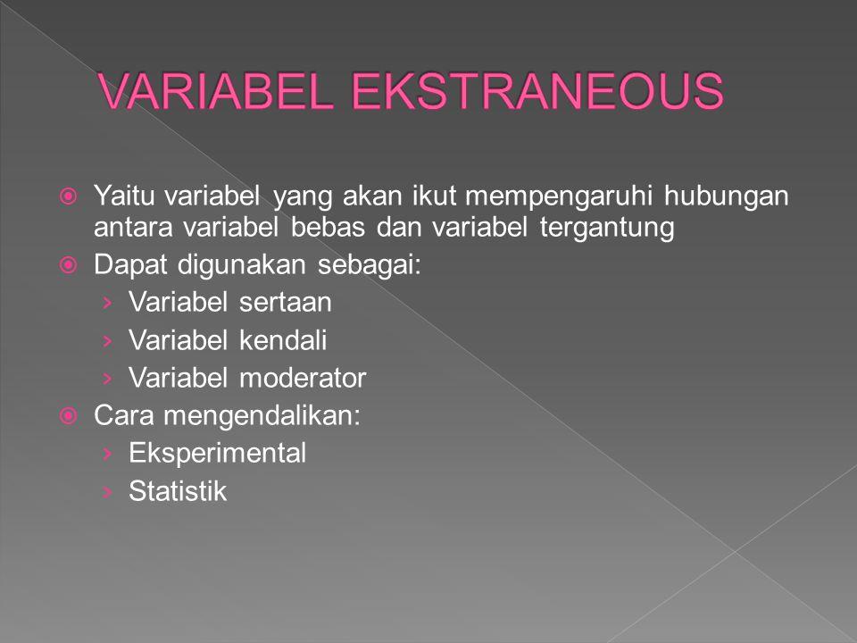  Yaitu variabel yang akan ikut mempengaruhi hubungan antara variabel bebas dan variabel tergantung  Dapat digunakan sebagai: › Variabel sertaan › Variabel kendali › Variabel moderator  Cara mengendalikan: › Eksperimental › Statistik