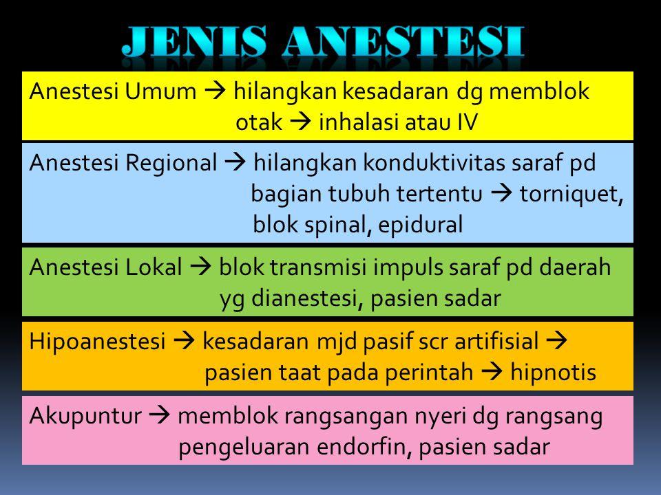 Anestesi Umum  hilangkan kesadaran dg memblok otak  inhalasi atau IV Anestesi Regional  hilangkan konduktivitas saraf pd bagian tubuh tertentu  to