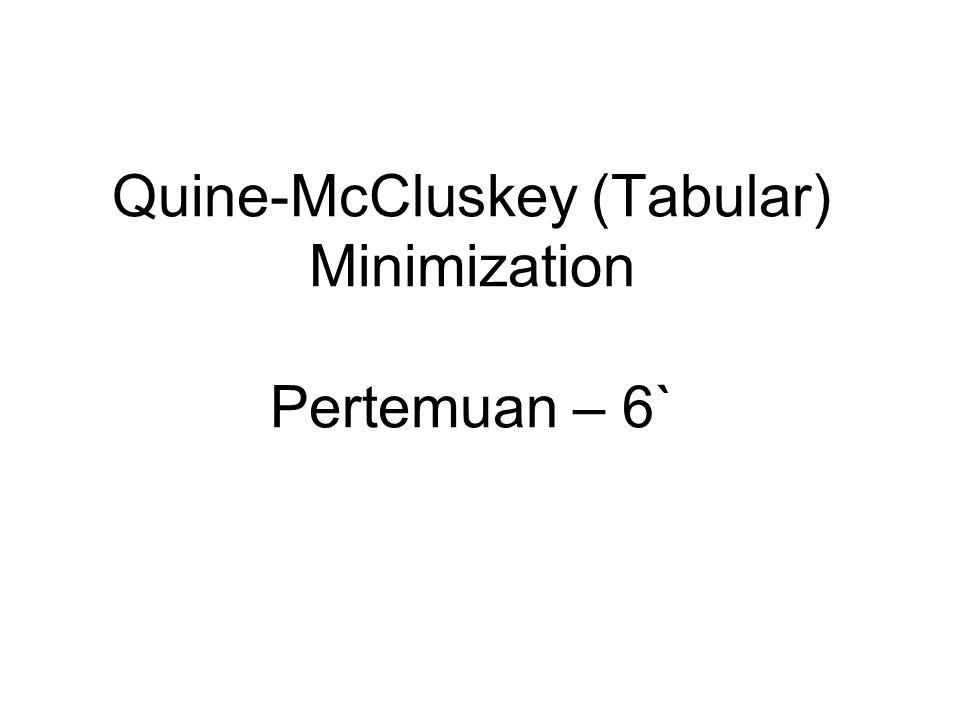 Quine-McCluskey (Tabular) Minimization Karnaugh Maps (K-Map), sangat efektif untuk meminimumkan persamaan aljabar bool untuk 1-s/d-4 input.
